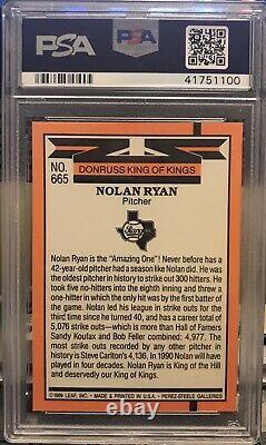 1990 Donruss #659 Nolan Ryan 5000KS King Of Kings Wrong Back PSA 9 Mint