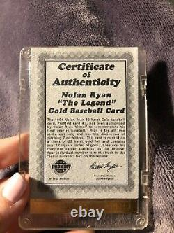 1994 Nolan Ryan gold baseball card with certificate of authenticity