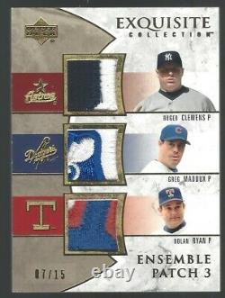 2006 Ud Exquisite Nolan Ryan Greg Maddux Clemens Game Worn Used Jersey Patch