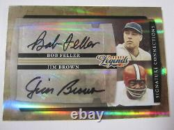 2008 Donruss Sports Legends Jim Brown Bob Feller Signed Autographed Card #'d 25