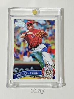2011 Topps Giveaway #320 Michael Young Texas Rangers Card Diamond Embedded 1/1
