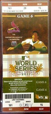 2011 World Series St. Louis Cardinals Texas Rangers Ticket Stub Game 6