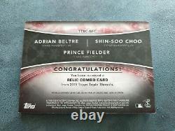 2015 Triple Threads 1/1 Adrian Beltre Choo Shin Soo Fielder Patch LOGO Jersey