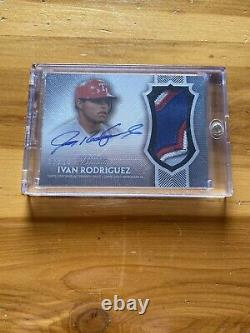 2017 Topps Dynasty Ivan Rodriguez 4 Color Patch On-Card Auto /10 Rangers
