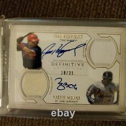 2019 Topps Definitive Ivan Rodriguez And Yadier Molina Dual Jersey Auto 18/35