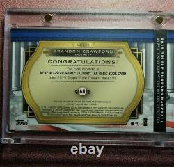 2019 Topps Triple Threads Brandon Crawford All star Game Laundry Tag patch 1/1
