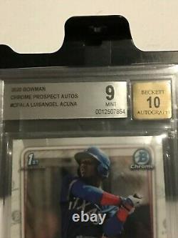 2020 Bowman Chrome RC Prospect SP AUTO BGS 9/10 (MINT) Luisangel Acuna (Texas)
