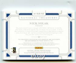 2020 Panini National Treasures NICK SOLAK RC Rookie Jersey Patch Auto RPA #1/1