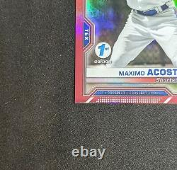 2021 Bowman 1st Edition MAXIMO ACOSTA Red Foil 1st Prospect 5/5 Texas Rangers