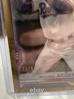 2021 Bowman Chrome Maximo Acosta Gold Shimmer 1st Bowman #/50 #bcp-7 Rangers