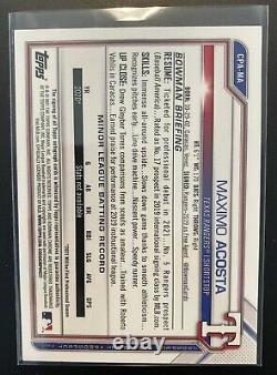 2021 Bowman Chrome Maximo Acosta Gold Shimmer Refractor Auto RC #/50 Rangers