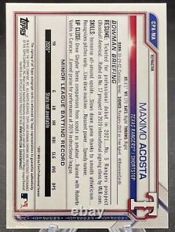 2021 Bowman Chrome Refractor Maximo Acosta Auto Autograph /499 Rookie Rangers
