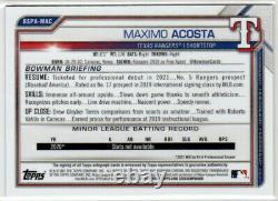 2021 Bowman Chrome Sapphire AUTO 1st Bowman Maximo Acosta #BSPA-MAC! Rangers