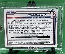 2021 Bowman Chrome Sapphire MAXIMO ACOSTA Yellow Refractor 1st BCP-7 Rangers /50