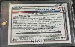 2021 Bowman Chrome Sapphire Maximo Acosta Green REFRACTOR AUTO /50 Rangers