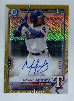 2021 Bowman Maximo Acosta Auto Gold Shimmer 13/50 Texas Rangers Top Prospect