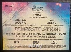 2021 Bowman Sterling Triple Auto Bayron Lora/Luis Angel Acuna/Josh Jung /25