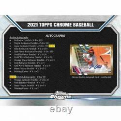 2021 Topps Chrome Baseball Jumbo Box (12 Packs/13 Cards 5 Autos)
