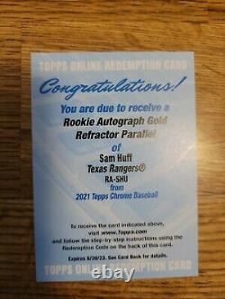 2021 Topps Chrome Sam Huff GOLD Refractor Rookie Auto #/50 RC Redemption INVEST