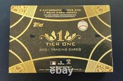 2021 Topps Tier One Baseball Hobby Box Sealed 3 Hits = 2 Autos 1 Relic