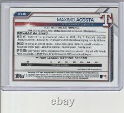 Maximo Acosta 2021 Bowman Chrome Auto 6/75 Texas Rangers Card Cpa-ma Lowest Ebay