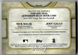 Nick Solak Joey Gallo 2021 Topps Tier One Dual Patch AUTO Booklet #'d/10 DAR-GSO