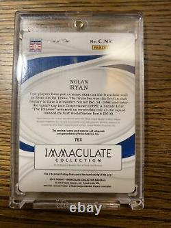 Nolan Ryan 2019 Panini Immaculate 1/1 Printing Plate Auto & Patch