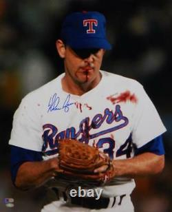 Nolan Ryan Signed Texas Rangers 16x20 Bloody Lip Photo- AI Verified/Ryan Holo B