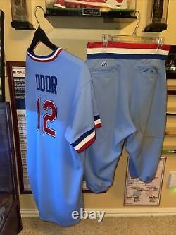 Roughed Odor Rangers Yankees Autographed Game Used Jersey And Pants MLB Auth